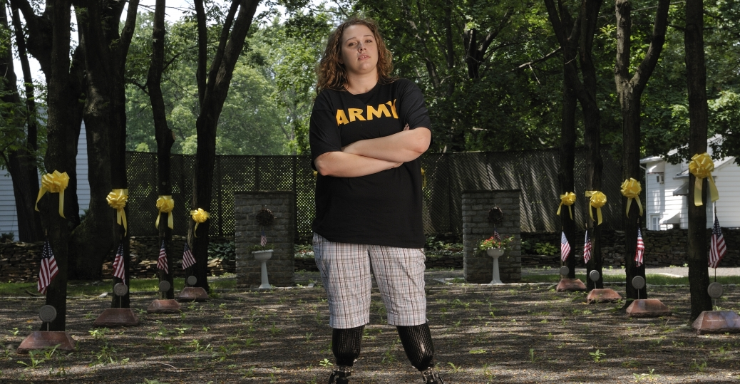 private first class marissa strock, iraq, veteran, veterans day, memorial park, new york