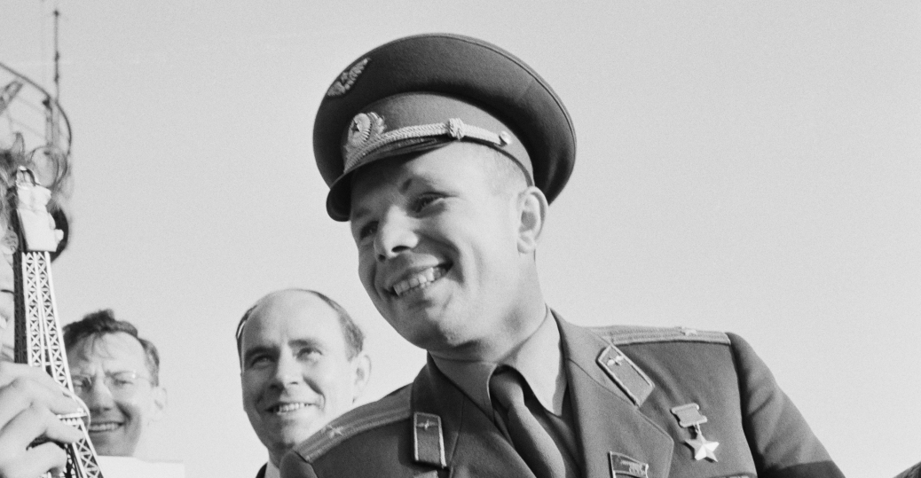 the soviet union, yuri gagarin, first person to orbit the earth, soviet astronaut,1961, the space race, the cold war