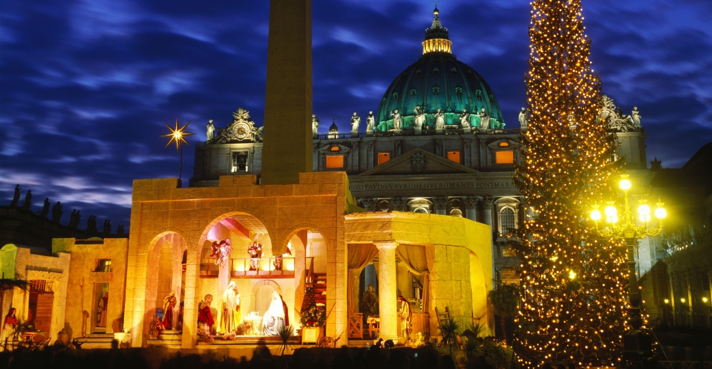 rome, italy, christmas tree, st. peter's square, st. peter's basilica, christmas, holiday, decorations