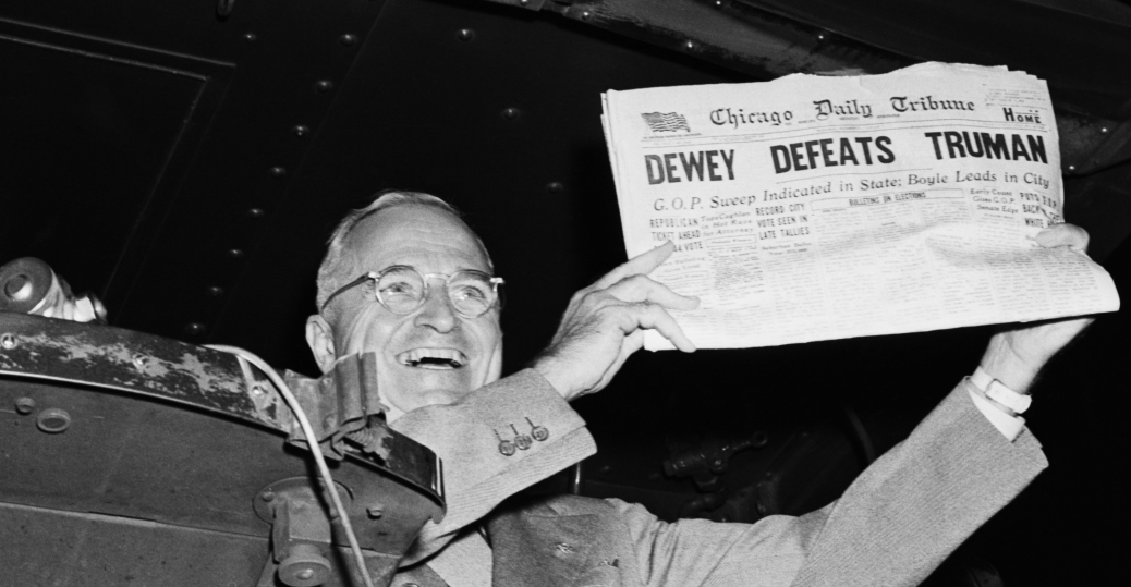 president harry s. truman, chicago tribune, 1948, dewey