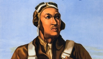 "A poster of a Tuskegee Airman encouraging citizen's to ""Keep us flying"" by buying war bonds."