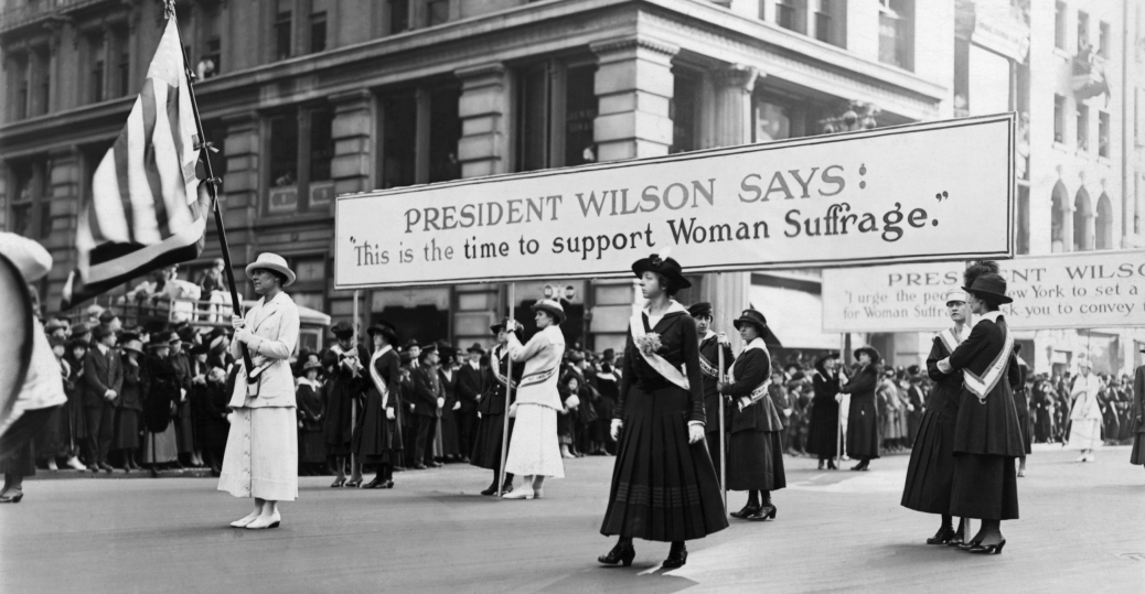 the suffragette movement, women's suffrage parade, woodrow wilson, president woodrow wilson