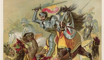 Spanish conquistador Hernan Cortes in battle