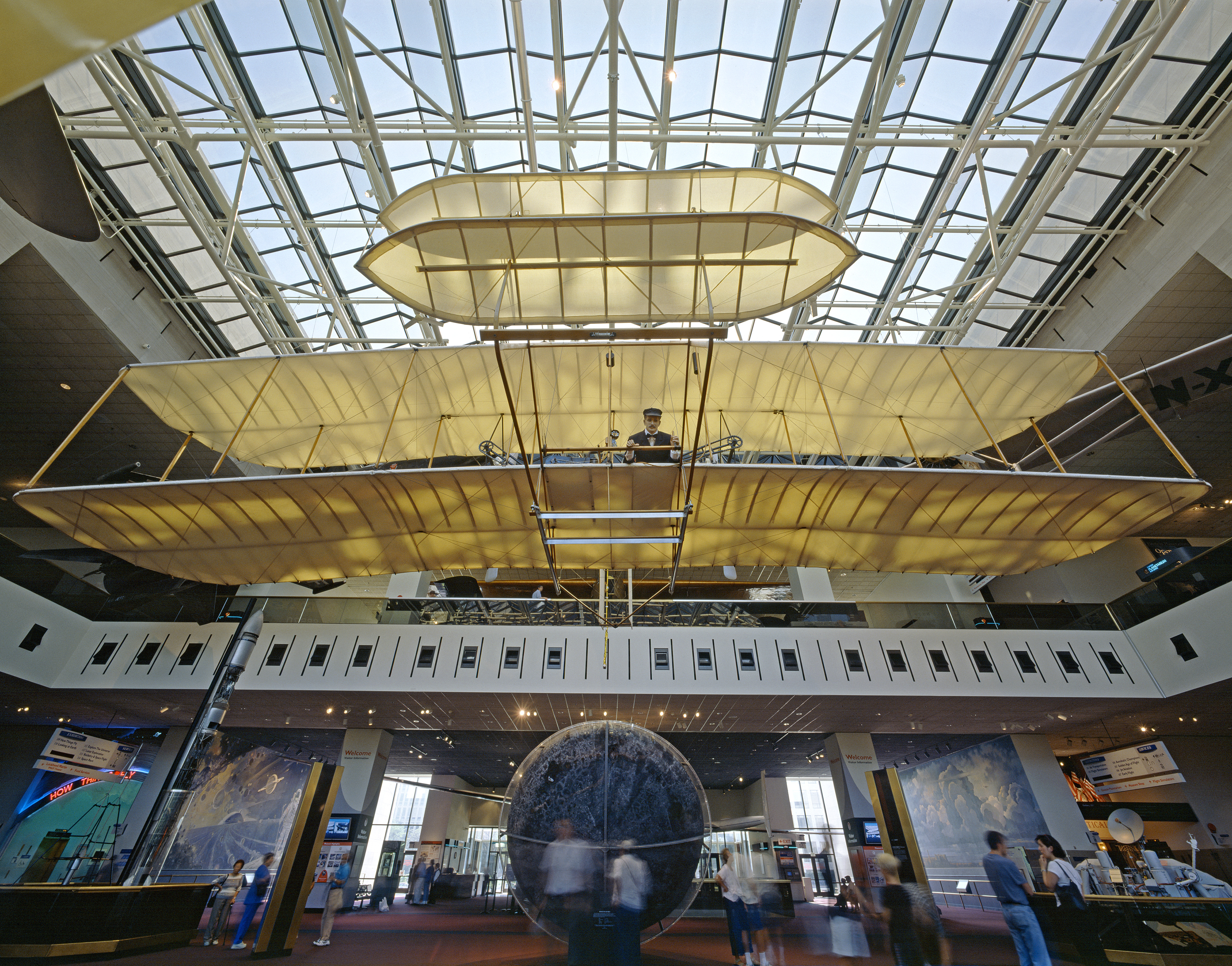 First Flight Kitty Hawk 1903 inside 1903-wright-flyer-hanging-in-the-milestones-of-flight-national-air