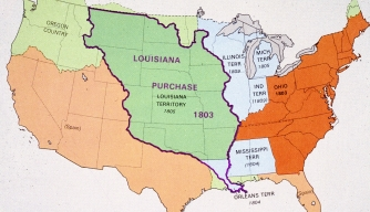 Map showing the area covered by the Louisana Purchase.
