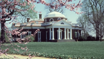 Exterior view of Monticello, home of President Thomas Jefferson