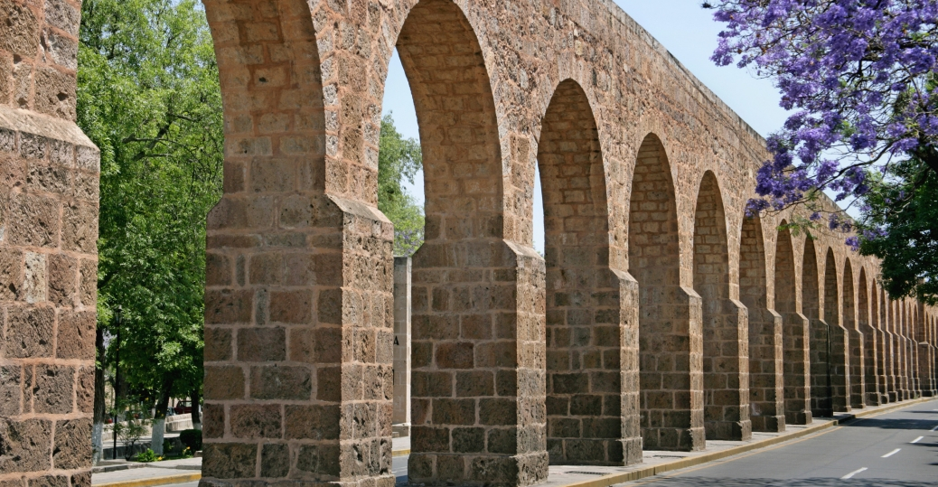 limestone aqueduct, morelia, historical capital, michoacan, mexico, 1700s, world heritage site, unesco, 1991, 1910