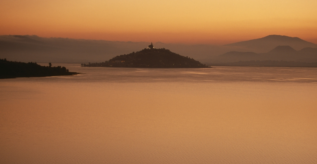 lake patzcuaro, dusk, island of janitzio, michoacan, mexico