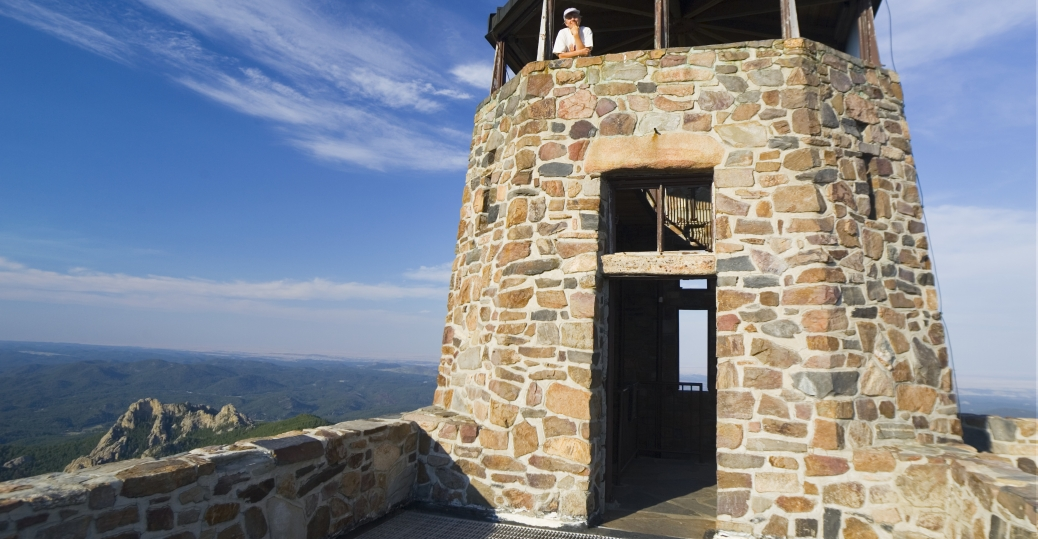 stone watchtower, harney peak, south dakota, civilian conservation corps, new deal programs, the great depression