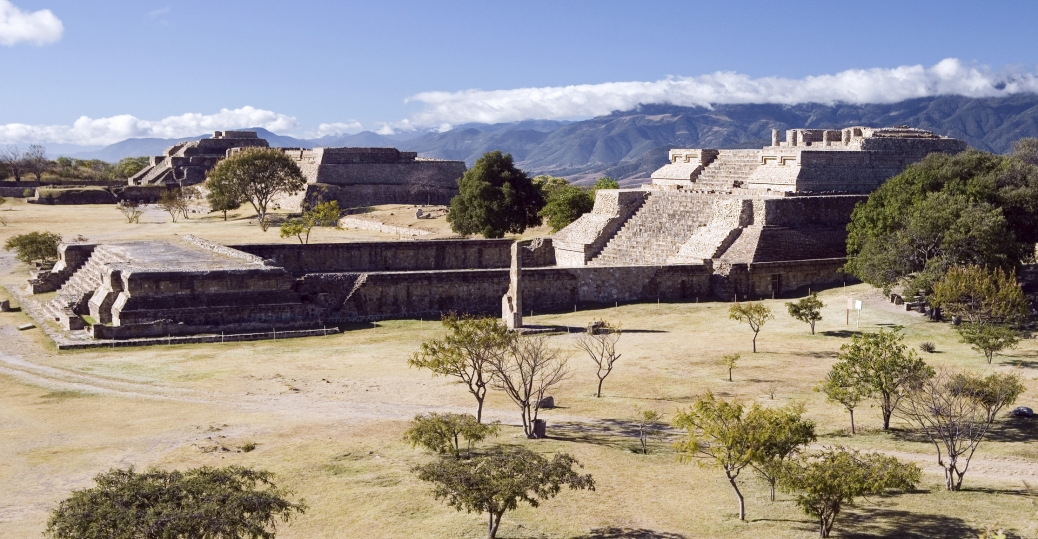 ruins of monte alban, monte alban, capital of the zapotecs, oaxaca, mexico