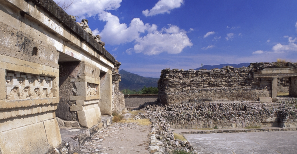 ruins of the south patio, mitla, oaxaca, mexico