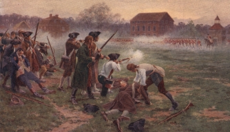 Minutemen facing British soldiers on Lexington Common, Massachusetts