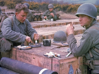 american combat engineers, england, 1944, rations, world war II, soldiers