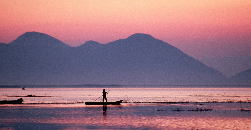 fisherman, dawn, michoacan, mexico