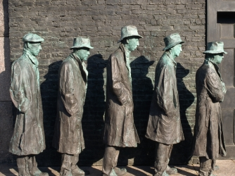 franklin delano roosevelt memorial, washington d.c., the great depression, soup kitchens, breadlines, sculptor george segal, depression-era america