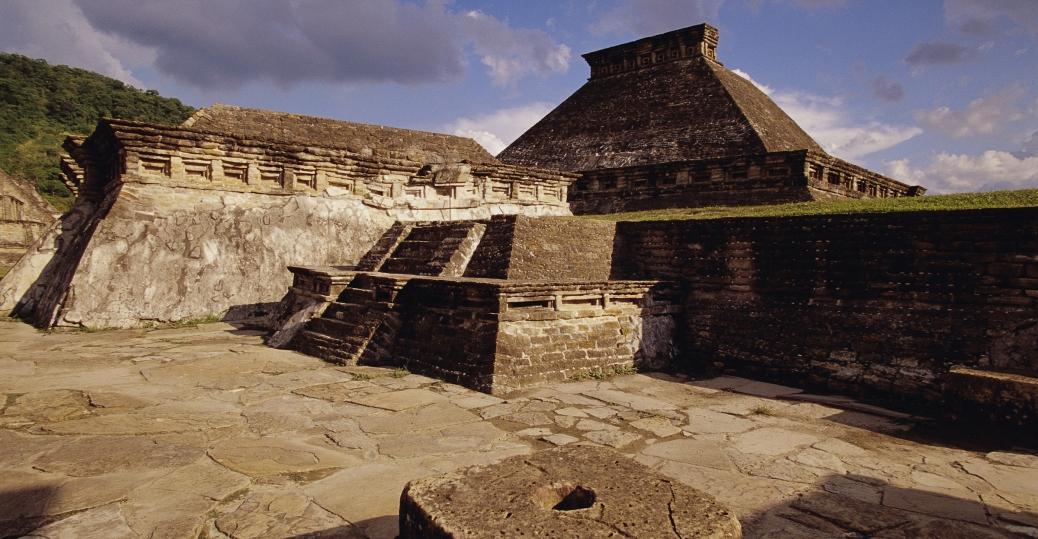 el tajin, monument 5, courtyard, veracruz, mexico