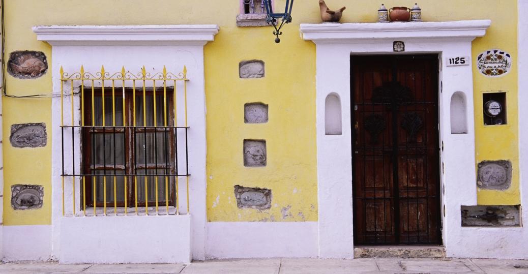 house facade, mazatlan, sinaloa, mexico