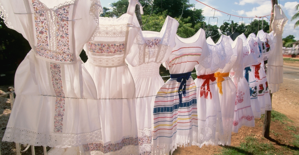 mexican dress display, yucatan, mexico