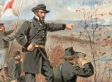 Painting of Union Maj. Gen. William T. Sherman overseeing battle