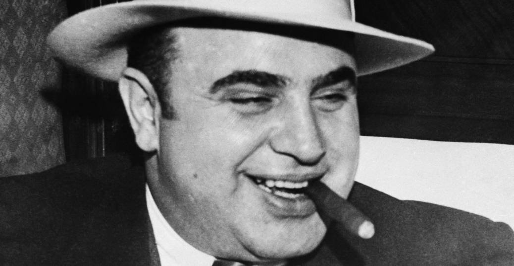 gangster al capone smoking cigar al capone and prohibition  al capone alphonse capone scarface organized crime chicago 1920s gambling