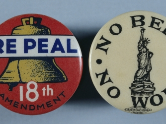 prohibition, anti-prohibition, anti-prohibition buttons, ban on alcohol, 1919, u.s. government, 1933, al capone, bootlegging operations
