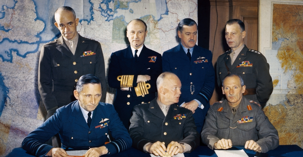 general eisenhower, general dwight d. eisenhower, air chief marshall sir arthur tedder, general sir bernard montgomery, lieutenant general omar bradley, admiral sir bertram ramsey, air chief marshal sir trafford leigh mallory, lieutenant general w. bedell smith, world war II, allied military leaders