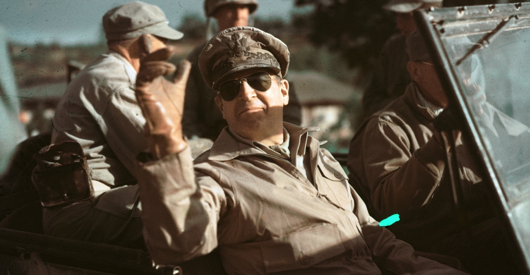 general douglas macarthur, commander in chief of u.n. forces, the korean war, president truman