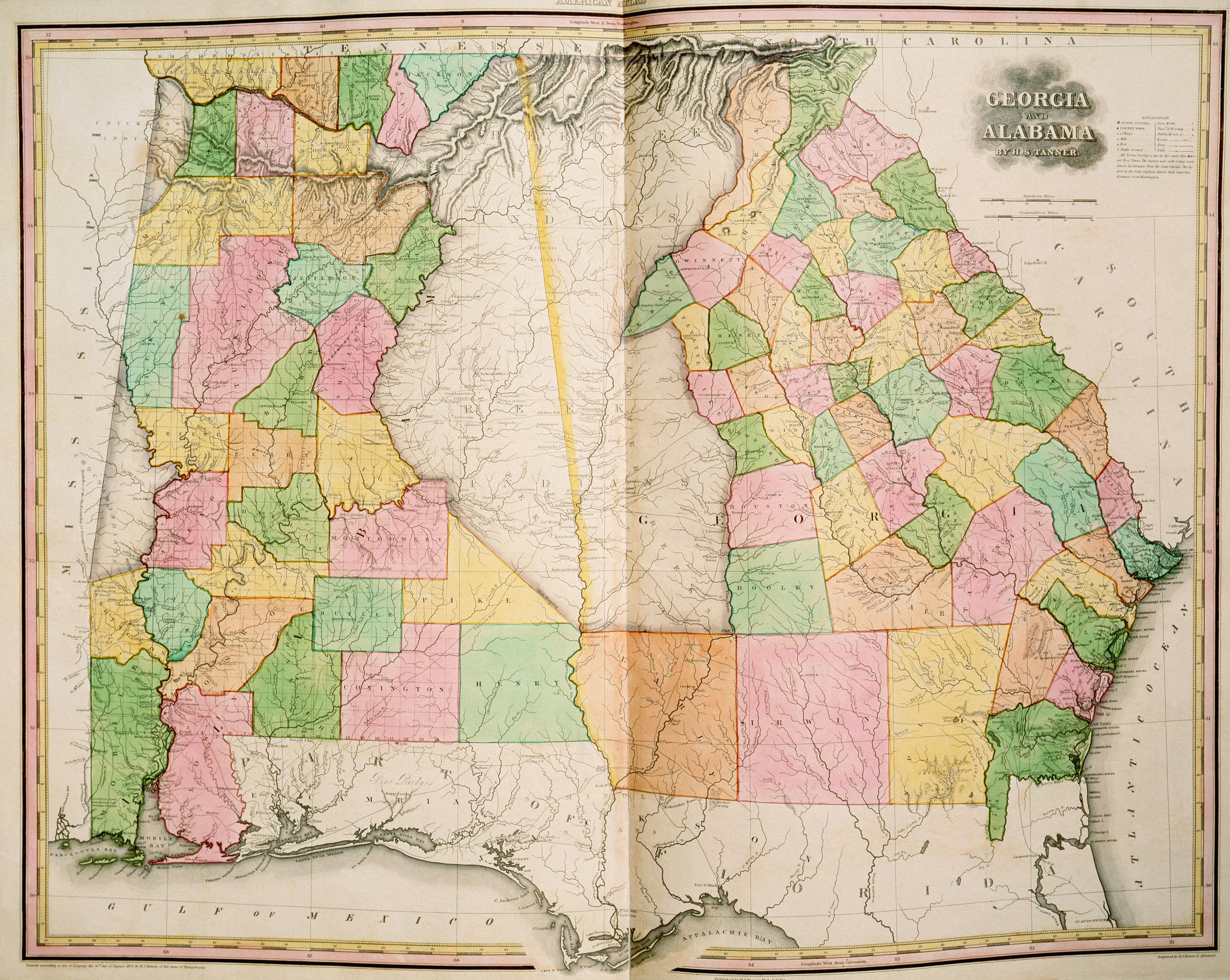 Georgiaandalabamapriortothetrailoftears Native American - 1823 us map