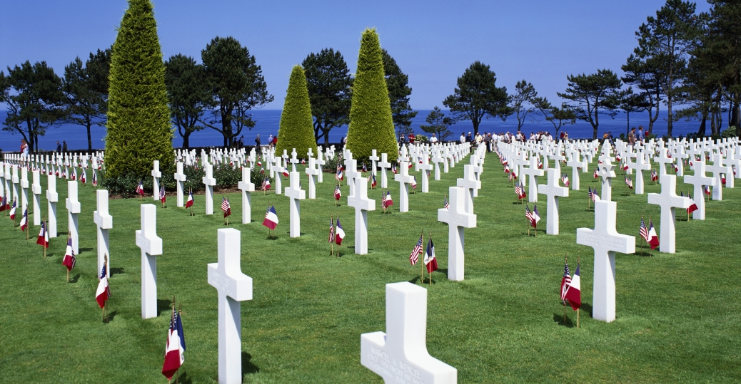 normandy american cemetery, omaha beach, english channel, 1944, first u.s. cemetery in europe, world war II, d-day