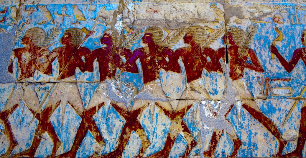 Wall painting in chapel of hathor at mortuary temple of for Egyptian mural painting