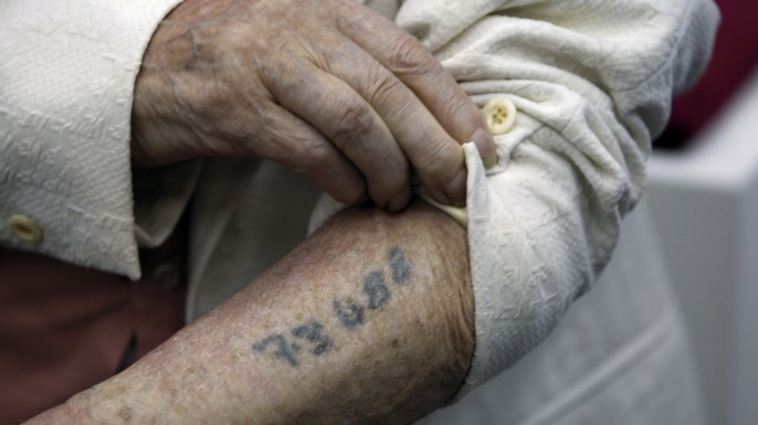 holocaust survivor, the holocaust, world war II, nazis, concentration camps, meyer hack, prisoner number, tattoo
