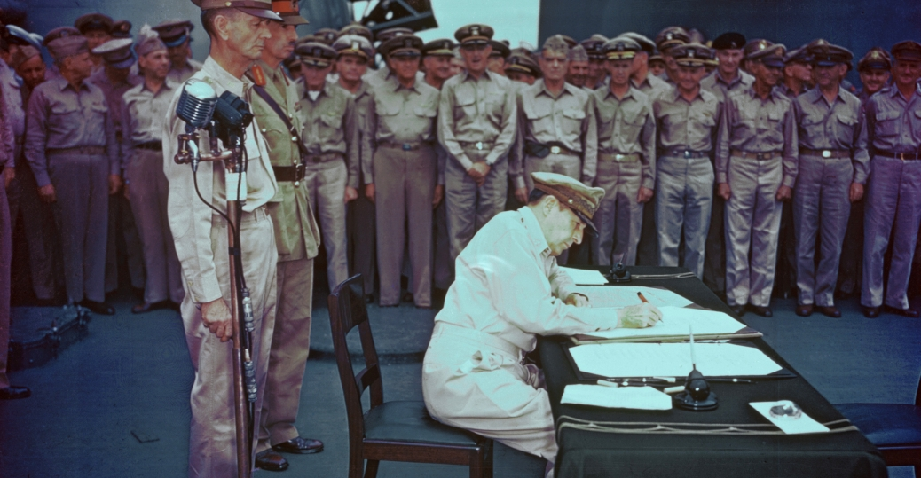 douglas macarthur, general douglas macarthur, supreme commander, allied military leaders, world war II, japanese surrender document, u.s.s. missouri, tokyo bay, japan, 1945, end of world war II