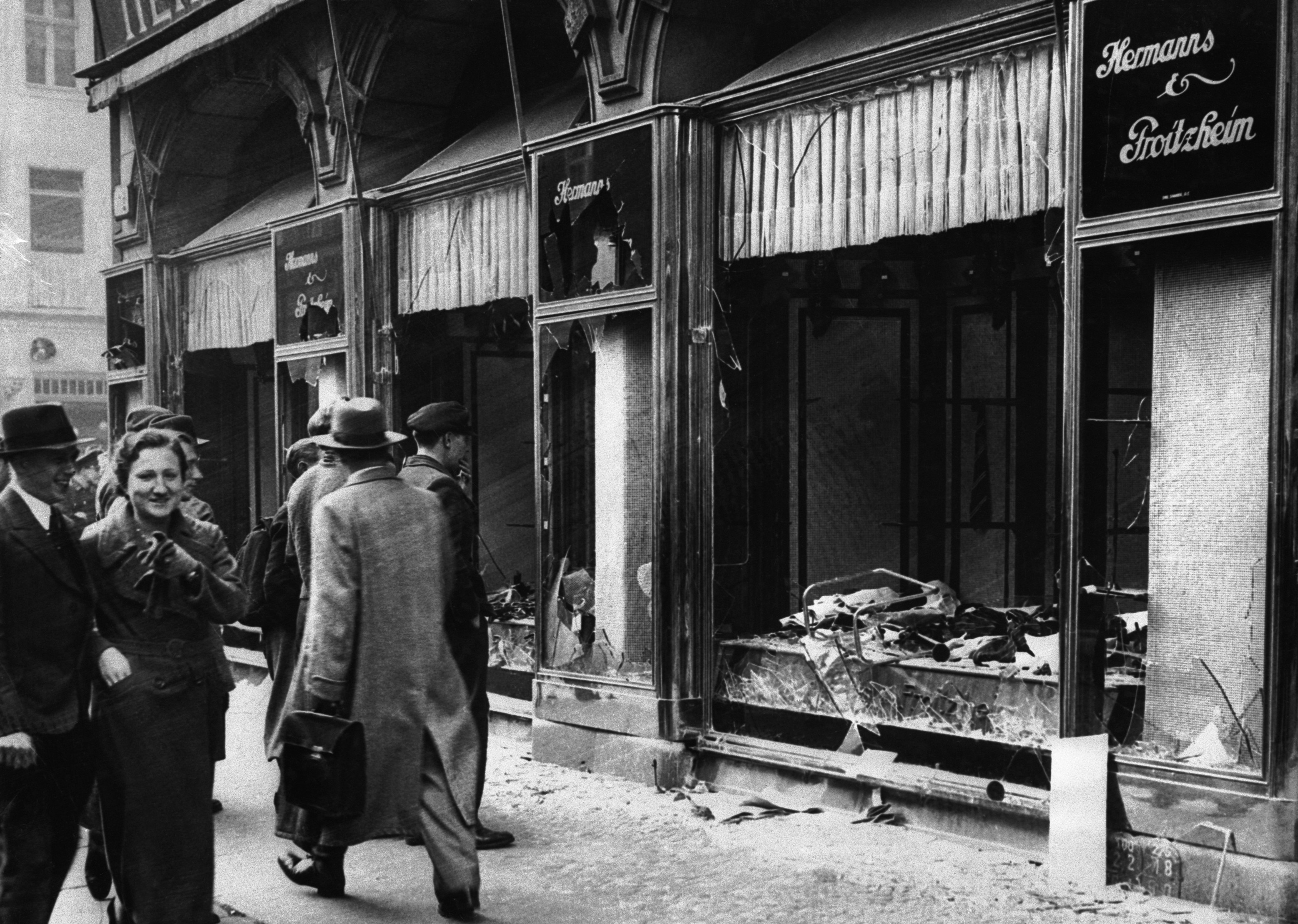 damaged-jewish-owned-storefront-after-kristallnacht-riot ...
