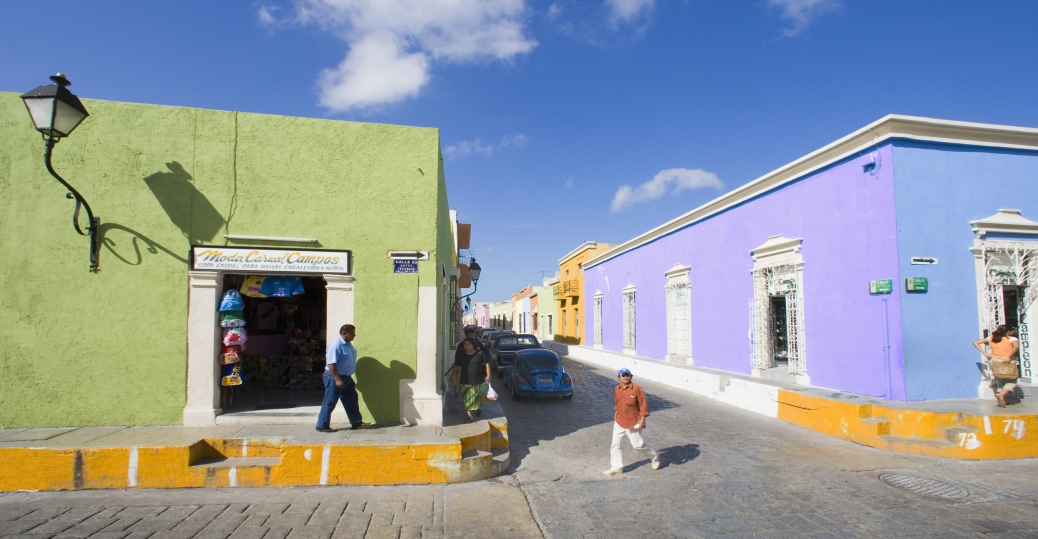 campeche, mexico, bright buildings