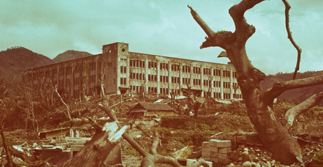 elementary school, remains, rubble, nagasaki, 1945, world war II, world war II destruction, atomic bomb