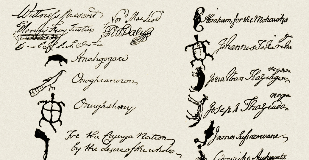 pictogram signatures, tribal chiefs, the six nations, contract, native american land, pennsylvania, iroquois confederacy, six tribes, the mohowak, onedia, onondaga, cayuga, seneca, tuscarora, native americans, native american tribes and cultures