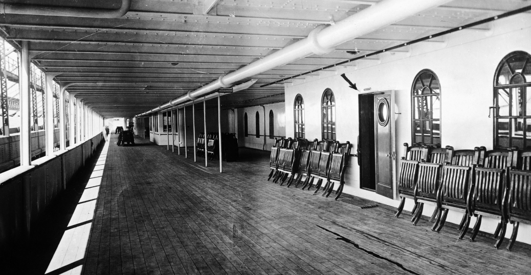 the promenade deck, the titanic, 1912