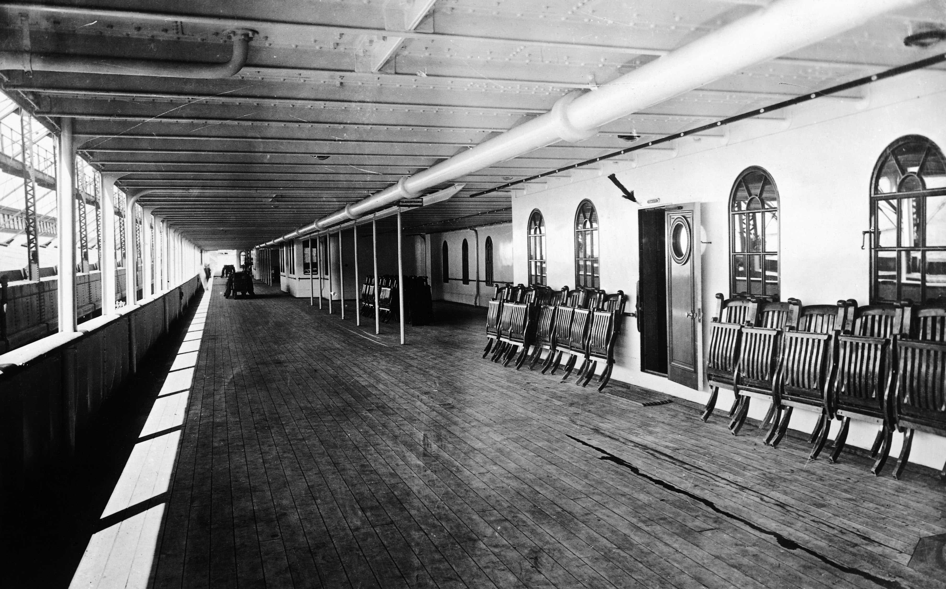 the deck and deck chairs on the Titanic Before and After