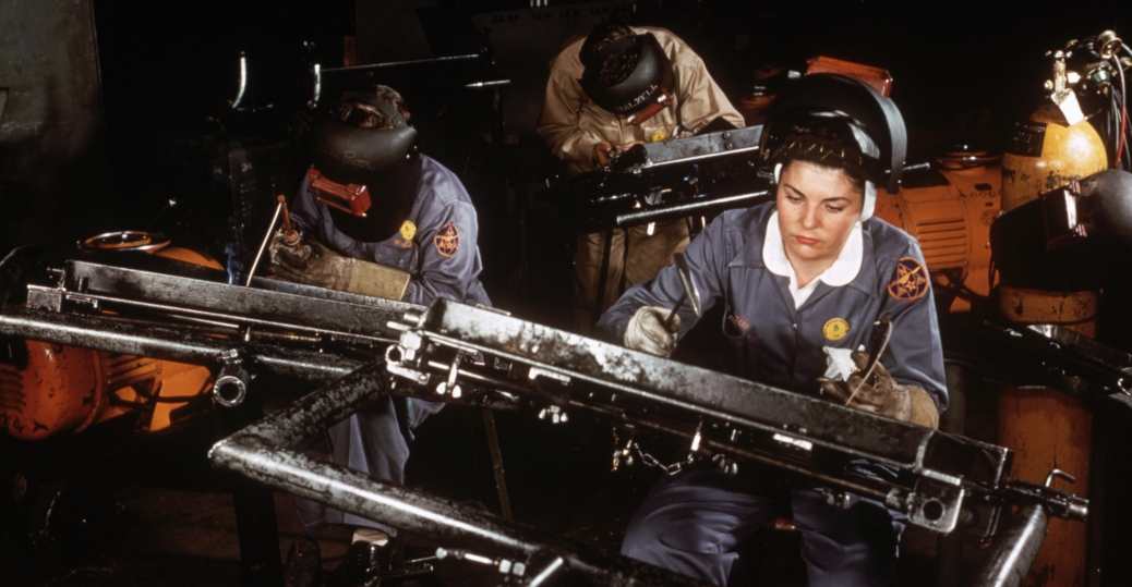 riveters, aircraft factory, women in the workforce, world war II, women factory workers