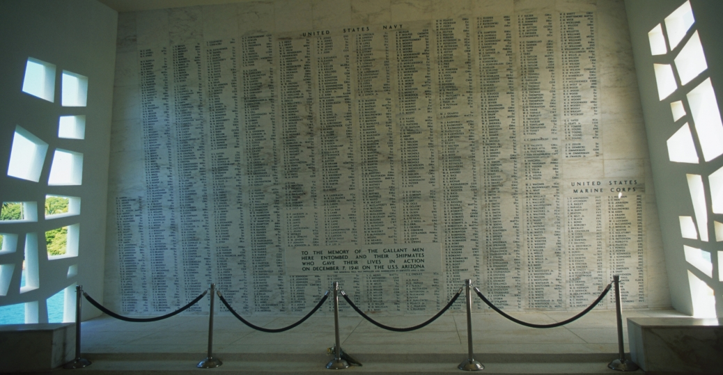 uss arizona, uss arizona memorial, memorial wall, pearl harbor, pearl harbor attacks, world war II