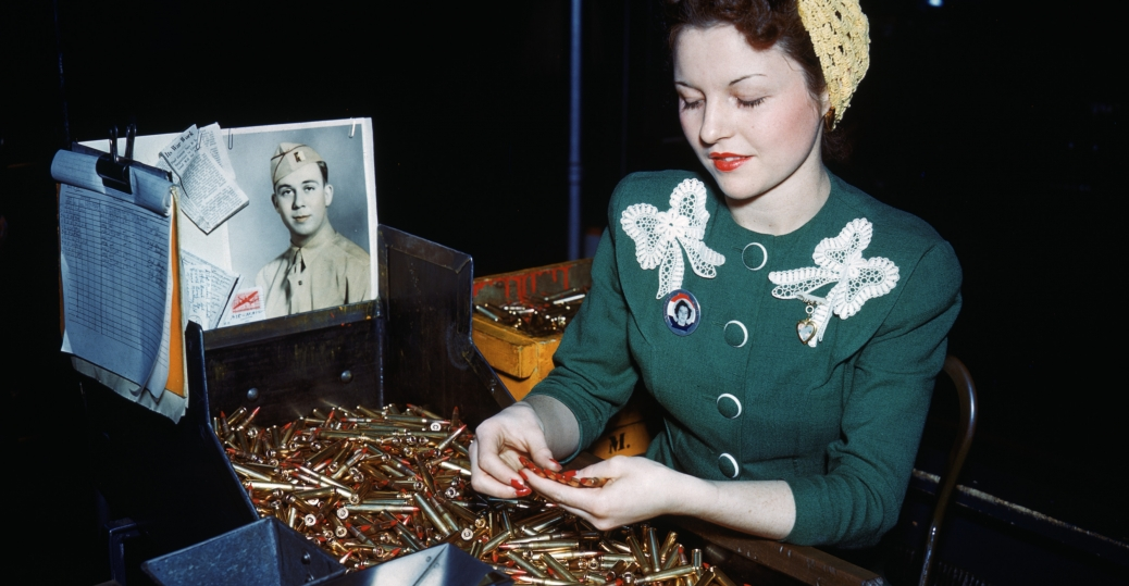 .30 caliber rifle, machine gun, bullets, fee perez, remington arms company, bridgeport, connecticut, women factory workers, world war II, women in the workforce