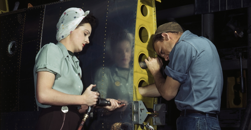 women in the workforce, world war II, woman riveting, munitions factory, women factory workers