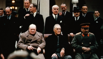 yalta conference, february, 1945, joseph stalin, soviet leader, president franklin d. roosevelt, british prime minister, winston churchill, world war II, political leaders
