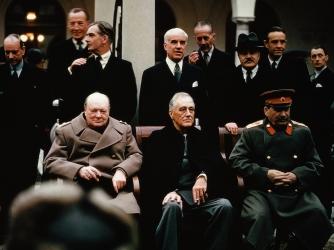 yalta conference, february, 1945, joseph stalin, soviet leader, president franklin d. roosevelt, british prime minister, winston churchill, world war II, political leaders
