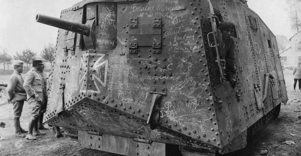 A7V tank, the great war, trench warfare, the western front, world war I, world war I technology, france, german tank
