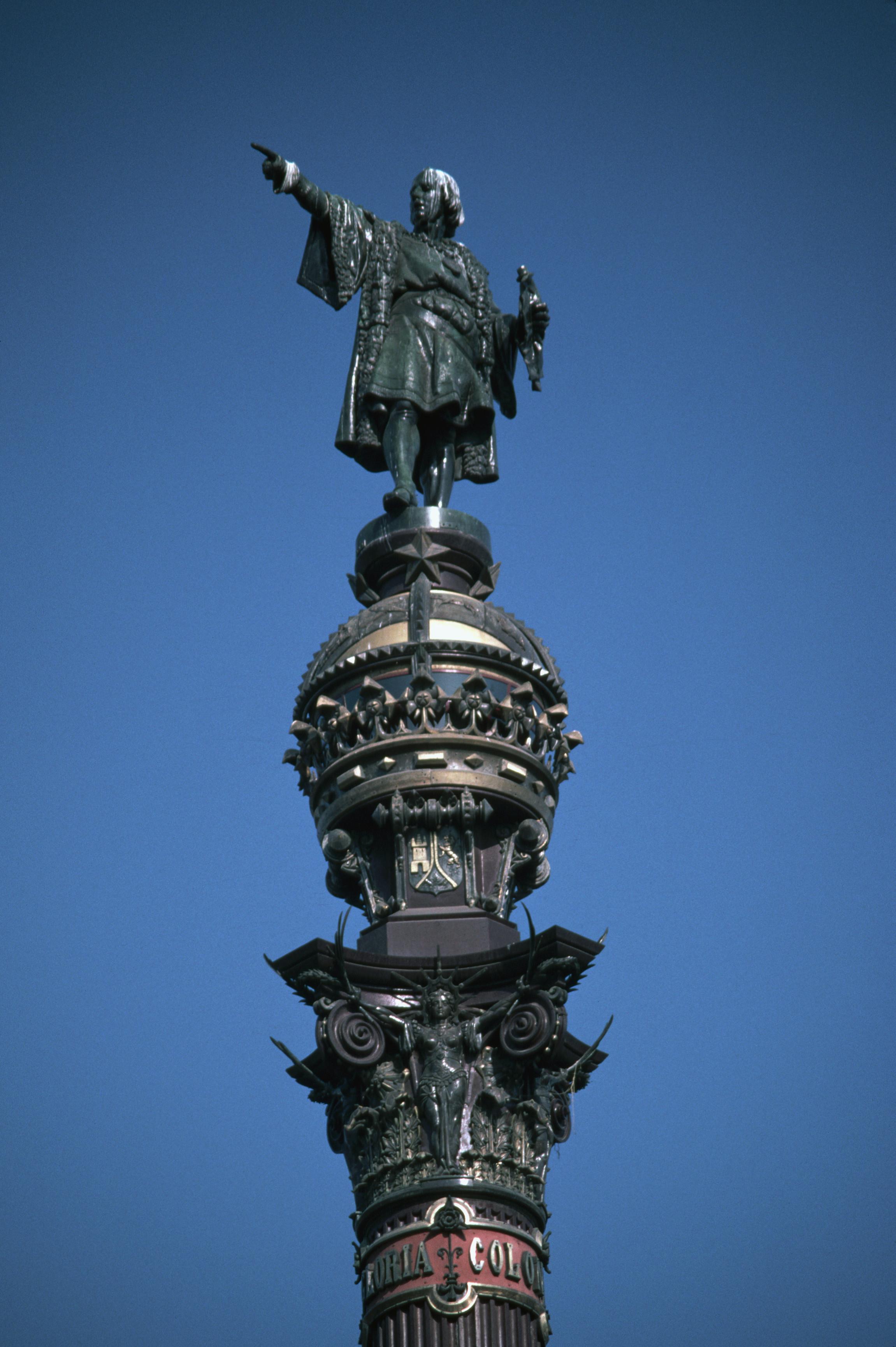 engraving of christopher columbus standing on his ship columbus