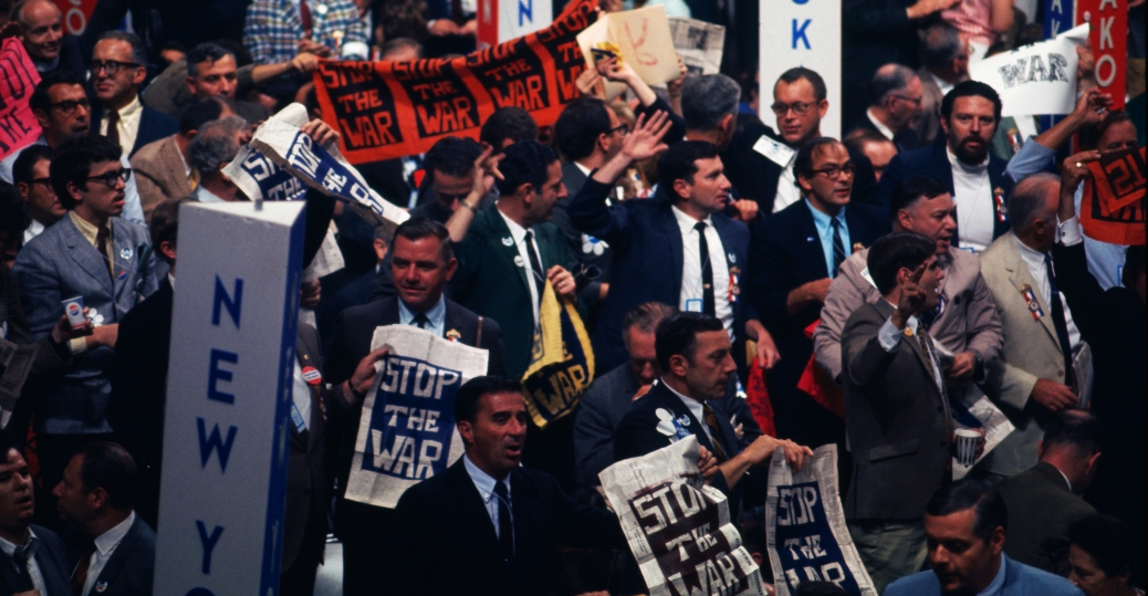 vietnam war, anti-war protests, 1968 democratic convention, chicago, Illinois, president lyndon b. johnson, vice president hubert humphrey