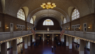 immigration, ellis island, federal immigration station, the great hall