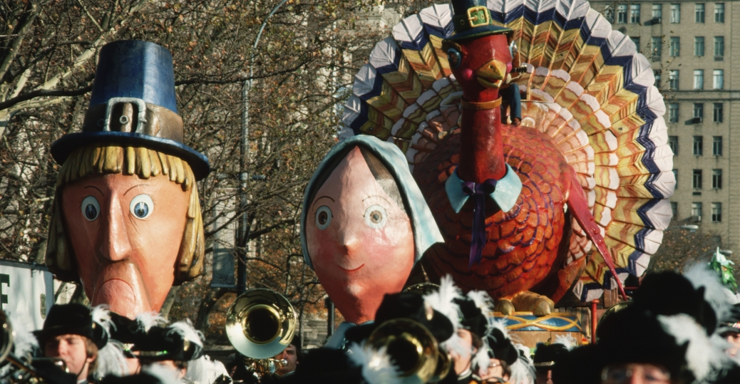 Pilgrims And Turkey Float In Macys Thanksgiving Day Parade