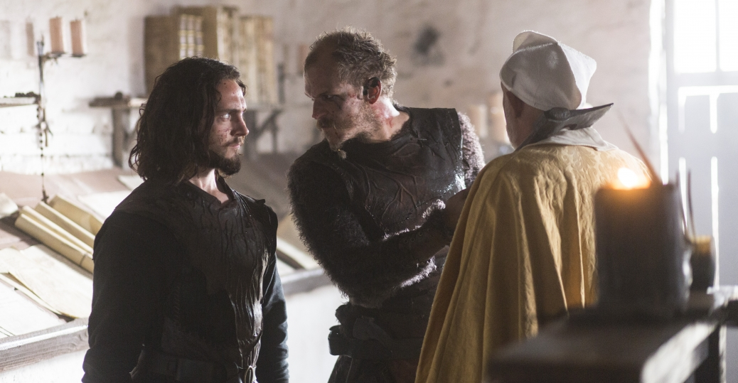 Gustaf Skarsgård as Floki and George Blagden as Athelstan